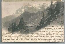 1905 DENT DU MIDI BARMAZ cartolina viaggiata Monthey Valais CHAMPÉRY