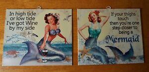 WINE & THIGHS 2 Vintage Retro Mermaid Tropical Tiki Beach Bar Sign Set Decor NEW
