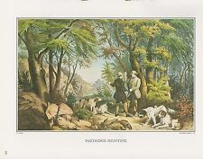 "1972 Vintage Currier & Ives HUNTING ""PARTRIDGE SHOOTING"" COLOR Print Lithograph"