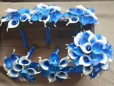 Royal Blue Calla Lily Bouquets Wedding Package Real touch Picasso Calla Lilies
