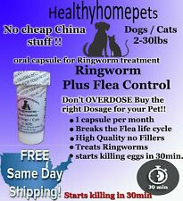 12 Capsules Ringworm and Flea Control Killer in on for Dogs / Cats 2-30 Lbs. NEW