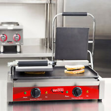 """Avantco P85S Double Smooth Panini Sandwich Grill 18 3"""" x 9 1/16"""" Cooking Surface"""