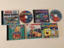 Lot of 7 Kids Pc Software Games Cd-Roms Freddi Fish Maze SpongeBob Typing