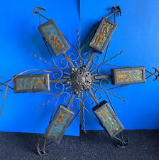Vintage Spanish Gothic Wrought Iron & Amber Electric Wall Art