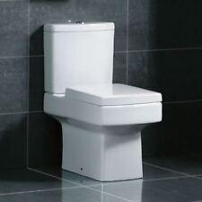 Modern White Ceramic Square Toilet Close Coupled Bathroom Pan & Seat WC (1011)