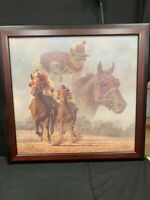 Fred Stone Canvas Lithograph Horse Racing Numbered 60/250 & Signed