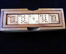 Poker Dice Deluxe wood box set –5 laser engraved hardwood dice -no card repeated
