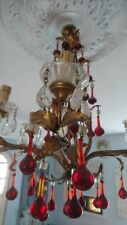 Divine Vintage French Gilded Chandelier With Cinnamon Glass Lustre Teardrops
