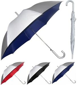 "48"" Arc Silver Auto-Open Umbrella Rain/Shine - RainStoppers Rain/Sun UV Fashion"