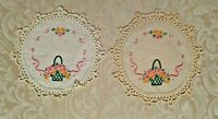 Vintage Hand Embroidered and Crocheted Round Doilies 8.25 Inches in Diameter