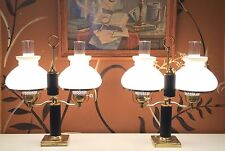 Colonial Williamsburg style vintage hurricane lamps w/ milk glass & key switches