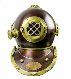 Scuba Diving Nautical Helmet Maritime Ship's Decorative Helmet 18 Inches, Brown