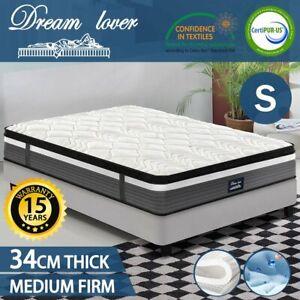 Single Mattress Size - Cool GEL Memory latex Foam - Pocket Spring 34cm 7 zone