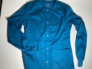 Cherokee Luxe Scrub Warm Up Jacket Size XXS Caribbean Blue NWOT Snap Front