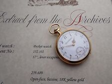 EARLY 1908 18K SOLID GOLD ANTIQUE  PATEK PHILIPPE 18 JEWELS ARCHIVES PAPER RUNS
