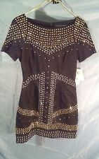 French Connection Beaded Black Cotton Dress sz 6 NWT