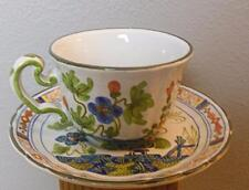 Vintage Blue Carnation Cup and Saucer Made in Italy Hand Painted Faince