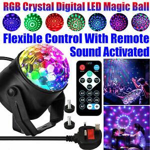 UK Remote Control LED Disco Stage Light Magic Crystal Ball RGB Rotating Party DJ