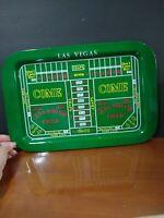 Vintage Las Vegas Craps Layout Gambling Game Bright Tin Serving Tray.