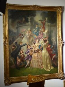 French Master Crowded Park Scene of Youth Party Giant Paris Salon Work 1864