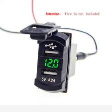 12V Car Auto Voltage Voltmeter Green/Blue/RED LED Dual USB Charger Socket Panel