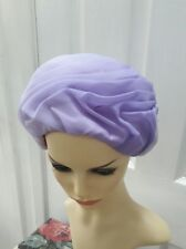 VINTAGE 1960s purple formal TULLE TURBAN CLOCHE STYLE HAT one size