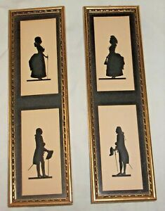 Estate Vintage/Antique C.& A. RICHARDS Panel Silhouettes Framed Set S-1212 AND &
