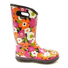 New Bogs Womens Classic Watercolor Tall Rubber Rain Winter Boots Pink Flowers 12