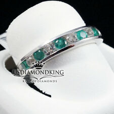 LADIES WOMEN'S 10K WHITE GOLD REAL EMERALD ENGAGEMENT WEDDING RING BAND 3.5MM
