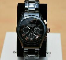 NEW EMPORIO ARMANI MEN'S WATCH AR1410 BLACK/ROSE GOLD CERAMICA CHRONOGRAPH