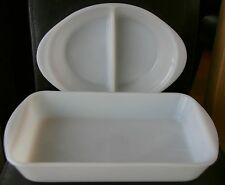 Vintage White Glasbake Oval Divided Casserole & Rectangle Baking Dish/Cake Pan