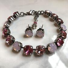 Swarovski Crystal Elements Pink & Rose Water Opal Bracelet & Earrings 8mm New
