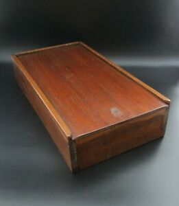 """Vintage 16"""" Rectangular Wooden Box with Sliding Lid Ideal for Tools & Other Uses"""