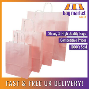 Strong Light Pink Ribbed Twisted Handle Paper Bags | Kraft/Gift/Fashion/Shop