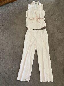 Ann Taylor Pink Linen Pant Suit Vest Top Pants Outfit Set Size 8 10 P PETITE
