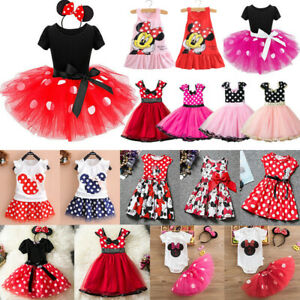 Minnie Mouse Baby Kids Girls Birthday Party Tutu Tulle Dress Outfits Costume Set