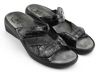 WOMENS MEPHISTO SANDALS SHOES SIZE 9 US 39 EU BLACK GRAY PATENT LEATHER