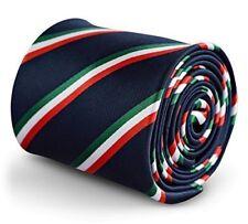 Frederick Thomas Azul Marino Corbata Para Hombre Bandera Italiana Diseño a rayas con blanco rojo, verde