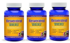 Resveratrol 1200 mg Natural Antioxidant Anti Aging Anti Inflammatory 3 Bottles