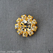 10 Round Gold Circle Rhinestone Crystal Button Buckle Clip BT598