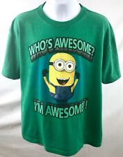 Dispicable Me 2 Minion T Shirt Unisex Size Lg Green Graphic Whos Awesome
