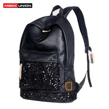 Fashion Women Backpack Big Embroidered Sequins Backpacks Ladies Black Bags New