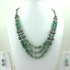 NATURAL REAL EMERALD GEMSTONE BEADED NECKLACE,EARRINGS 58 GRAMS