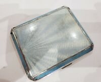 Vintage Art Deco Guilloche Enamel Solid Silver Cigarette Case HM Birmingham 1947