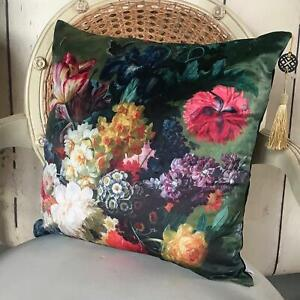 Vintage Floral Velvet Cushion Cover, Shabby Chic Rustic Vogue Country Luxe Decor