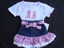 2 pc PINK Bandana & Denim Western Cowgirl Skirt Set Size 2 NWT CUTE!