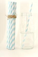 50x blue striped paper drink straws party wedding birthday babyshower decoration