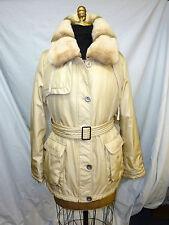 New Cream Fabric jacket with detachable Rex Rabbit Collar+Facing Trim #62185