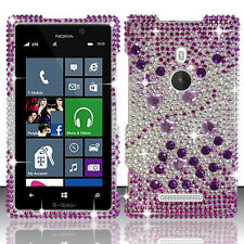 For Sprint HTC 8XT Crystal Diamond BLING Hard Case Phone Cover Purple Silver
