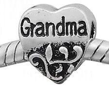 GRANDMA European Charm Spacer Bead Atq Silver Tone Gift for Bracelets